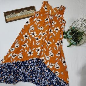 NWOT Boho Floral Asymmetrical Dress